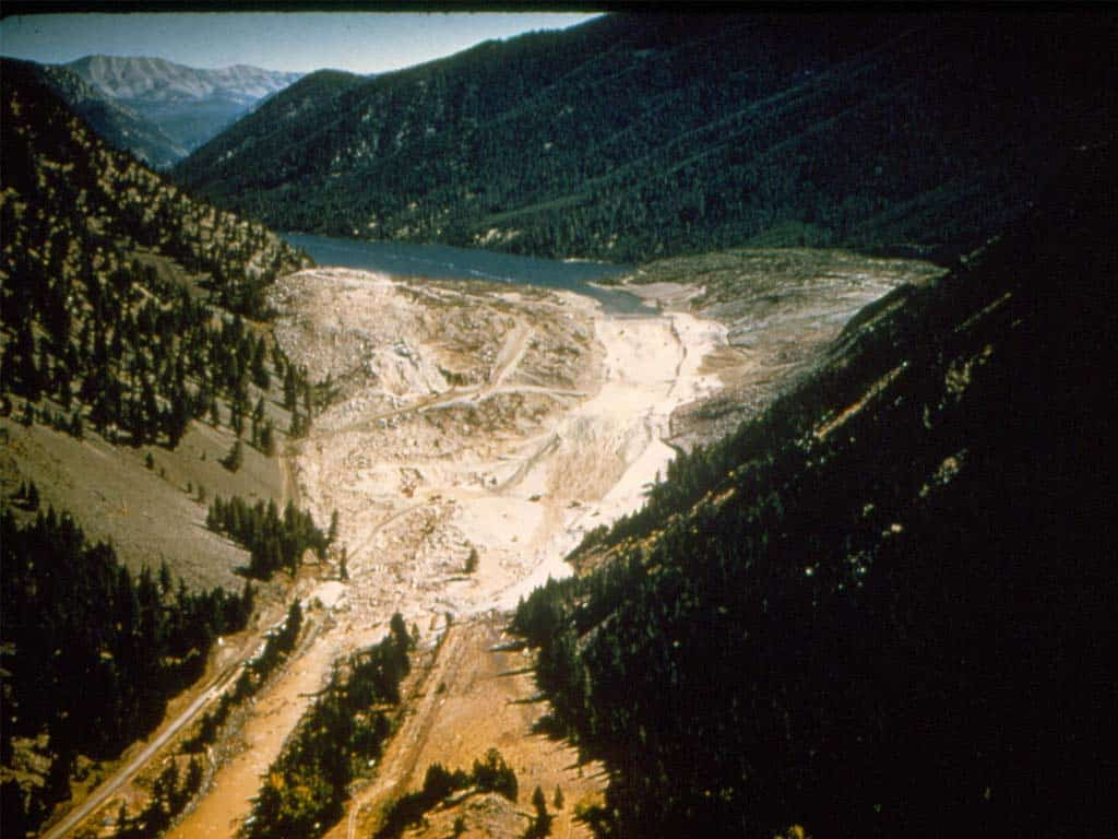 Madison River Canyon Earthquake slide aerial view.